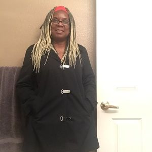 Michael Kors raincoat blk md w/ removable collar